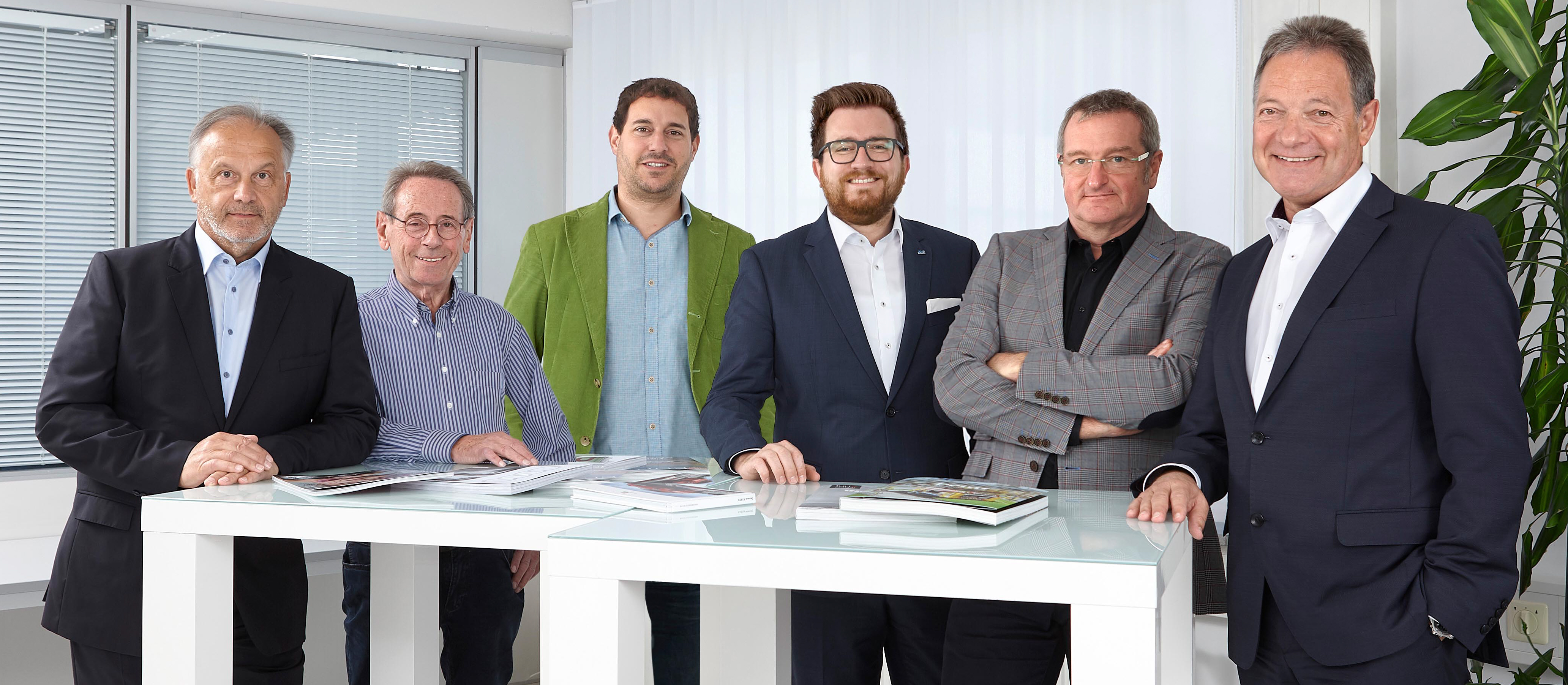 Erweiterte Geschäftsleitung (v.l.): Reinhard Hornung, Ulrich Otterbach, Boris Kern, Daniel Stöck, Jürgen Schreiber, Otto Engelhard